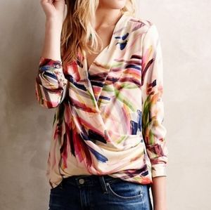 Anthro HD in Paris Colorful Print Top Size 2